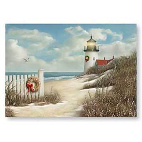cape shore lighthouse beach boxed christmas cards - Beach Christmas Cards